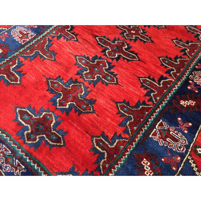 Textile Red & Navy Vintage Hand Knotted Turkish Rug For Sale - Image 7 of 9