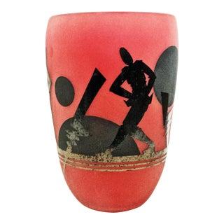 Mid Century Glass Art Vase For Sale