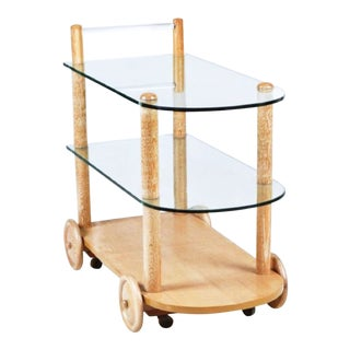 Gilbert Rohde Art Deco Oak & Glass Two-Tier Bar Cart