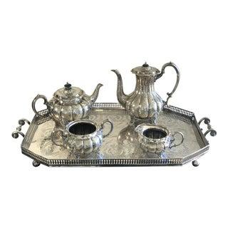 1944 WWII Ship Christening Commemorative Silver Tea Set For Sale