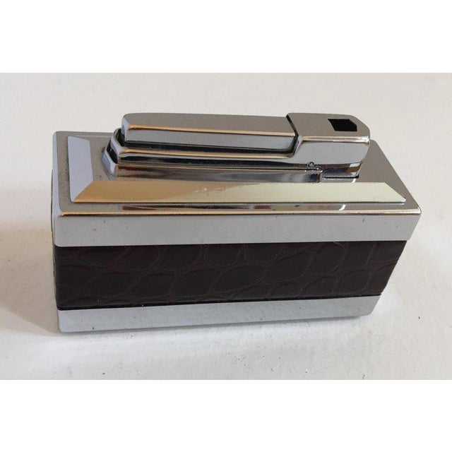 Art Deco Vintage West Germany Table Lighter With Brown Crocodile Leather For Sale - Image 3 of 11