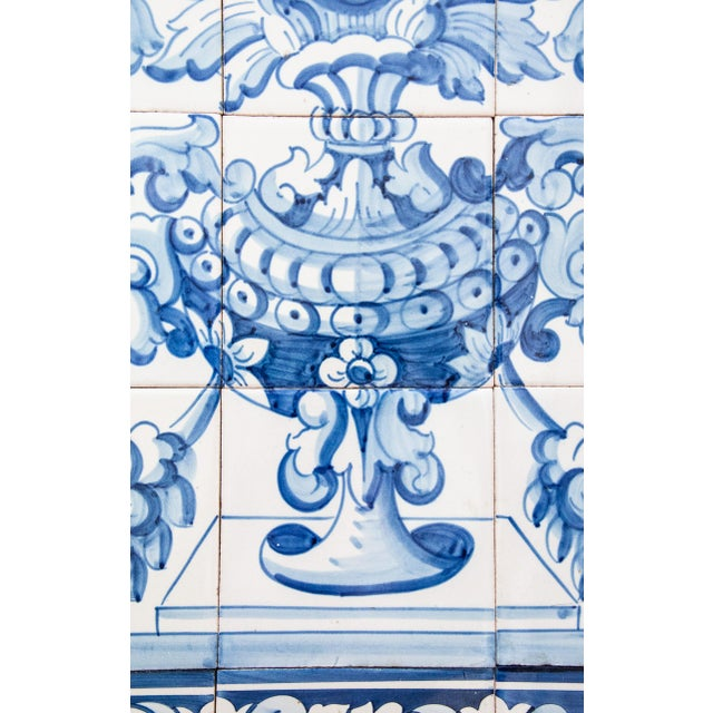 Mid 20th Century Large Vintage Dutch Delft Floral Tile Wall Mural For Sale - Image 5 of 7