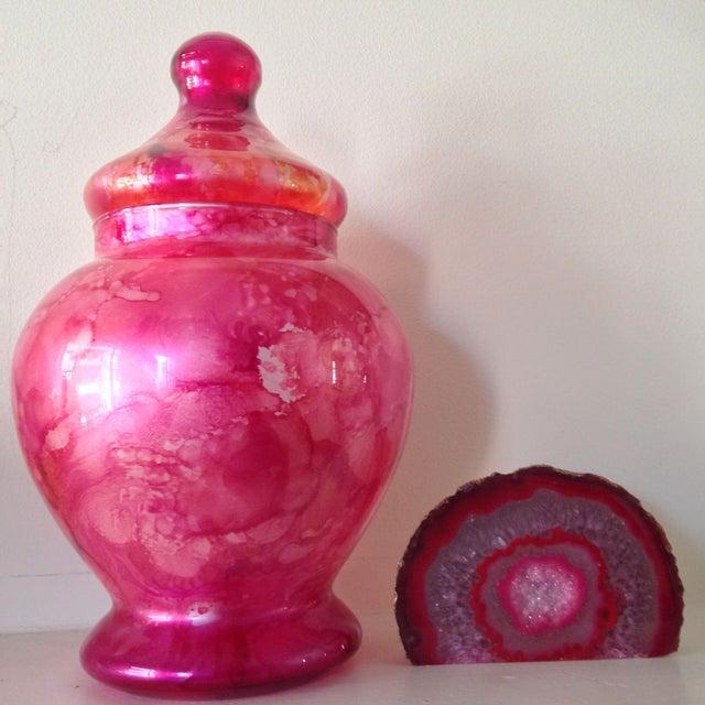 Vibrant Pink Glass Ginger Jar For Sale - Image 7 of 7