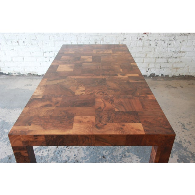 Burlwood Paul Evans for Directional Patchwork Burl Wood Parsons Extension Dining Table For Sale - Image 7 of 13