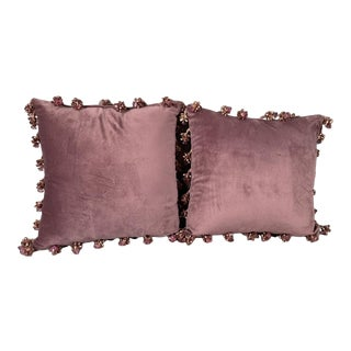 French Velvet Pillows With Bows and Crystal - a Pair For Sale