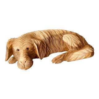 1980s Carved Resting Dog Sculpture For Sale