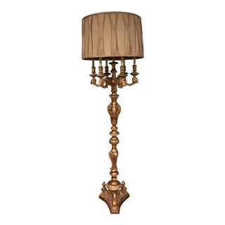 1990s Vintage Gilded Gold Candelabra Floor Lamp For Sale