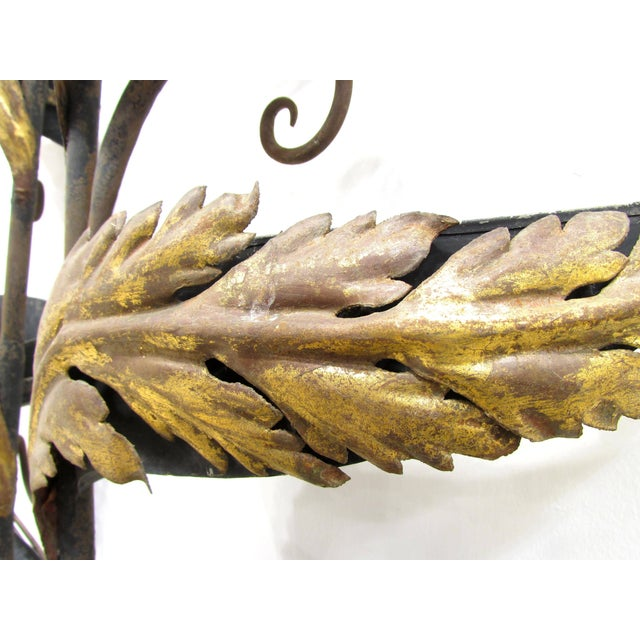 Gold Wrought Iron and Gilt Garden Wall Hanging For Sale - Image 8 of 11