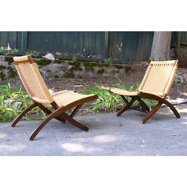 Hans Wegner Style Rope Chairs & Stools - A Pair For Sale In Boston - Image 6 of 11