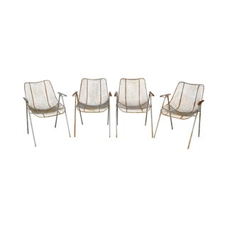 Russell Woodard Mid Century Modern Set of 4 Sculptura Iron Mesh Patio Dining Chairs For Sale