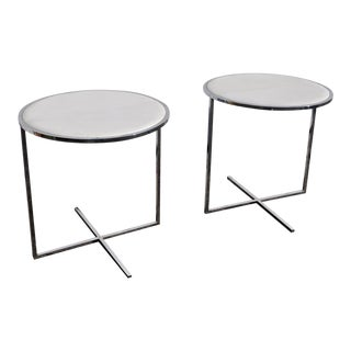 1970s Mid Century Modern Chrome Round Side Tables - a Pair For Sale