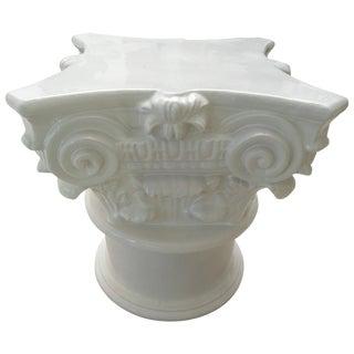 White Corinthian Glazed Terracotta Pedestal Base for Dining Table Base or Garden For Sale