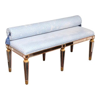 Silver Gilt Bench With Mirrors and Gold Trim For Sale