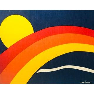Vintage Marushka Sun & Rainbow Landscape Block Print Art on Frame For Sale
