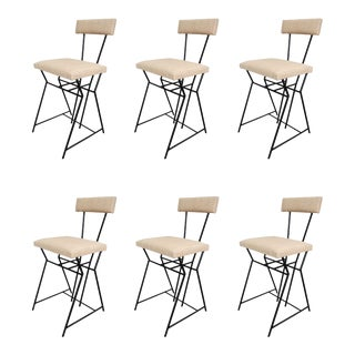 Set of Six Chairs in Lacquered Metal, Italy 70'