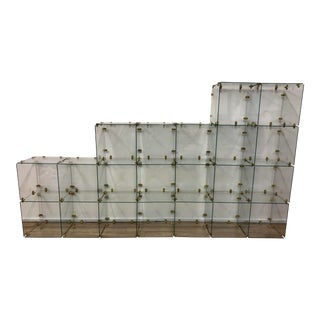 Mid-Century Modern Pace Brass and Glass Display Cubes Etagere For Sale