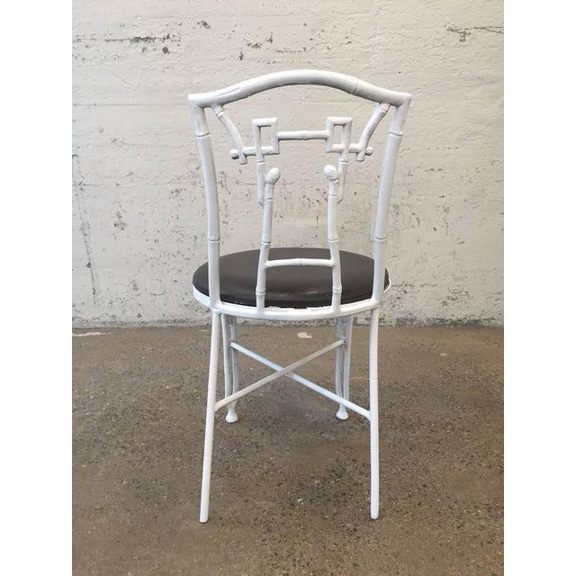 Pair of Asian Style Faux Bamboo Side Chairs For Sale - Image 4 of 8