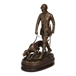 Scarborough House Brass Figure of Man Guiding a Dog For Sale