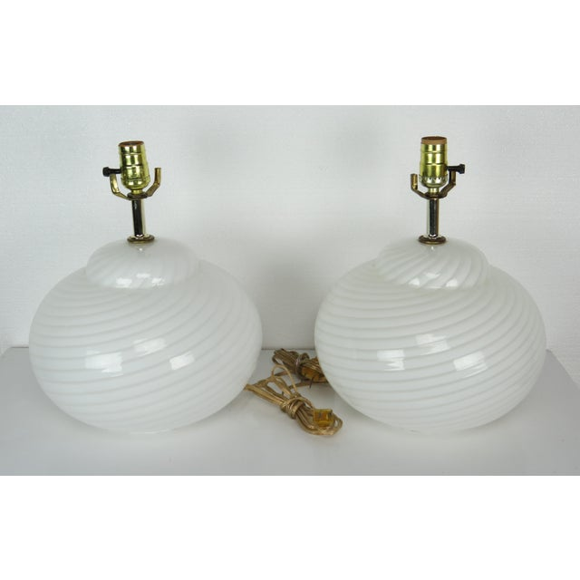 Mid-Century Modern Murano Glass Swirl Lamps - a Pair For Sale - Image 13 of 13