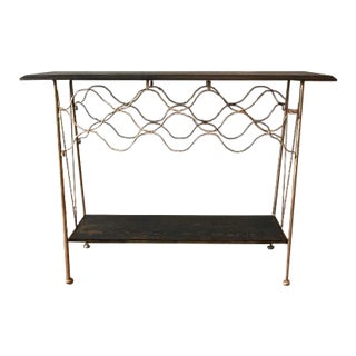 2000s Rustic Gold Metal and Black Wood Bar Cart Wine Rack