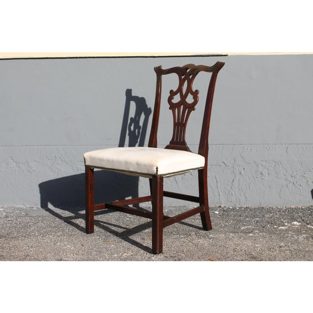 Vintage Mid-Century Chippendale Style Carved Mahogany Occasional Chair For Sale - Image 4 of 12