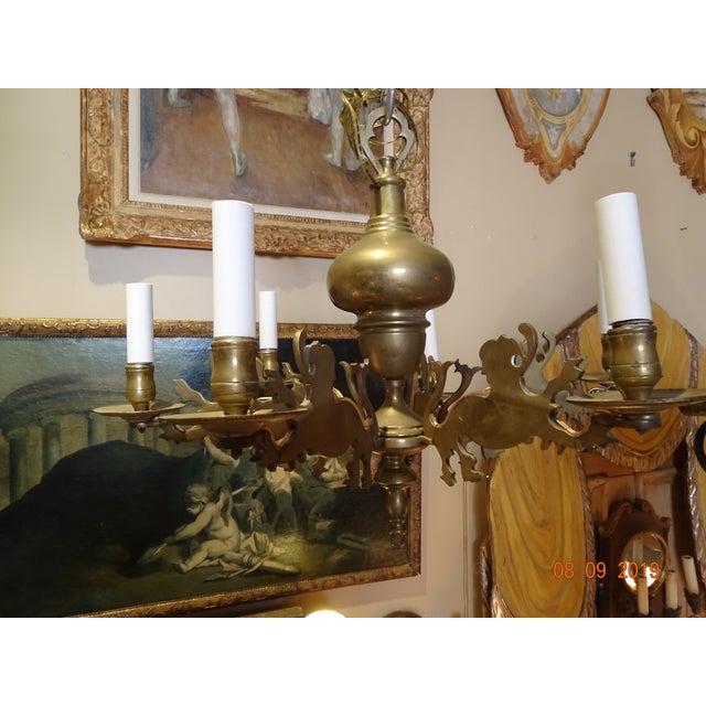 Metal 19th Century Belgium Brass Chandelier For Sale - Image 7 of 10