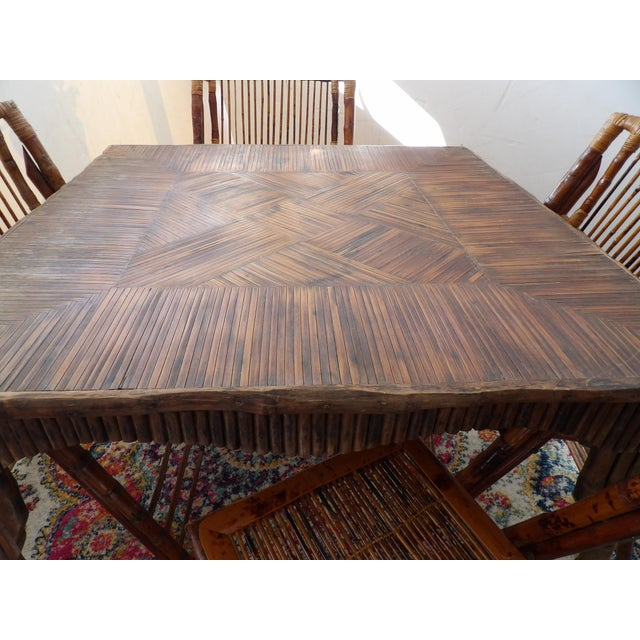 1940s Florida Rattan and Bamboo Folding Game Table With Six Folding Chairs - 7 Pieces For Sale - Image 5 of 9