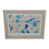 Image of Vintage Framed Limited Edition Pastel Colored Signed Geometric Abstract Lithograph For Sale