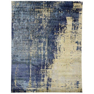 Contemporary Silk Area Rug With Abstract Expressionist Style - 9′ × 11′7″ For Sale