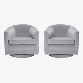 Swivel Tub Chairs in Dove Velvet, Pair Preview