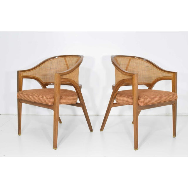 Dunbar Furniture Dunbar Cane Back Lounge Chairs by Edward Wormley - a Pair For Sale - Image 4 of 11