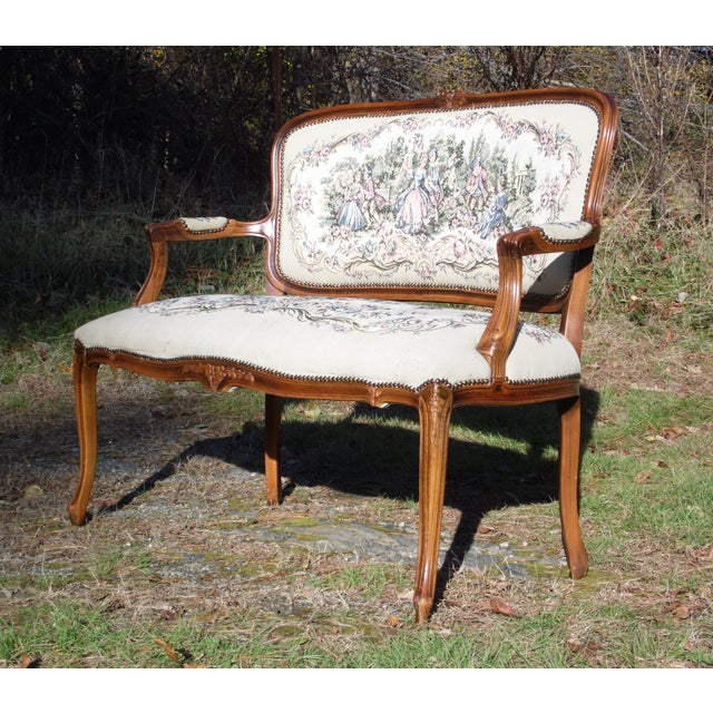 Vintage French Provincial Louis XV Style Tapestry Settee Chateau d'Ax Italy For Sale - Image 11 of 13