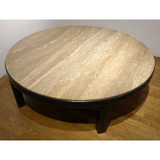 Edward Wormley Cocktail Table with Travertine Top - Image 4 of 9