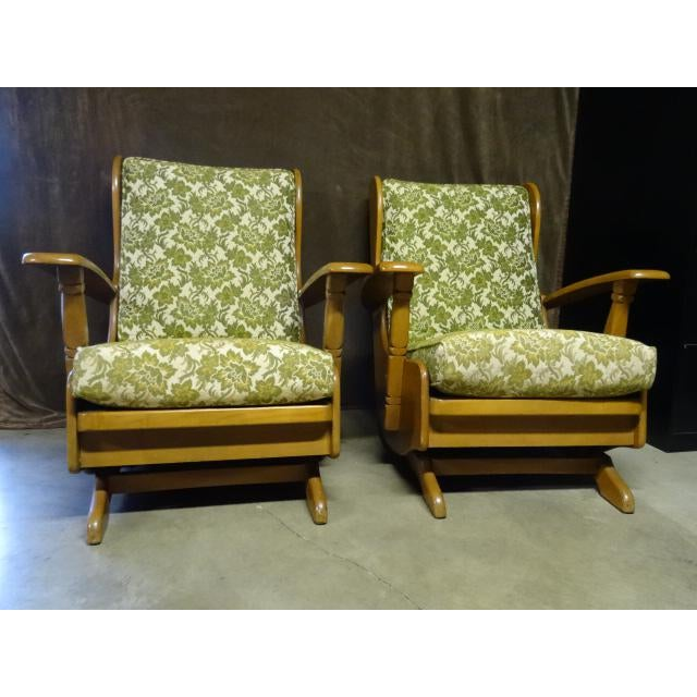 Mid-Century Cushman Style Colonial Platform Rocking Chairs - A Pair For Sale - Image 6 of 8