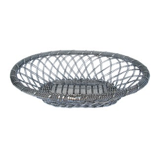 Silver-Plate Woven Basket For Sale