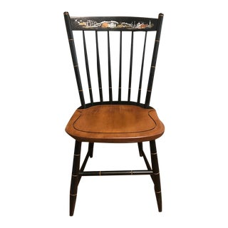 L. Hitchcock Black Seaport Windsor Side Chair For Sale