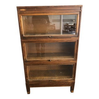 Vintage Industrial Oak Wood Stacking Barrister Bookcase For Sale