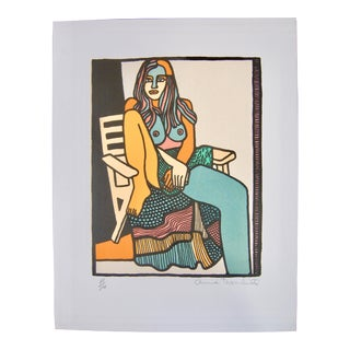 """Anna Thornhill """"Free Spirit"""" Seated Nude Female Signed & Numbered Lithograph For Sale"""