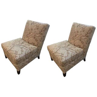 Stickley Champagne and Taupe Slipper Chairs - A Pair For Sale
