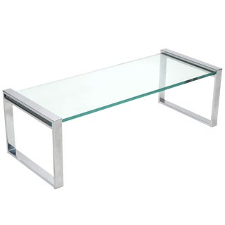 Cy Mann Chrome and Glass Coffee Table For Sale