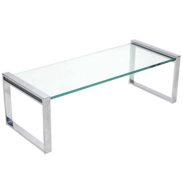 Sophisticated Cy Mann Chrome And Glass Coffee Table Decaso