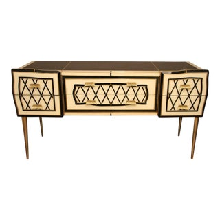 Italian Black and White Sideboard or Credenza in Glass and Brass Inlay Covered For Sale