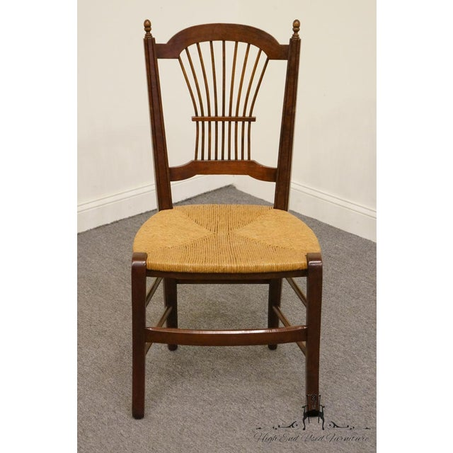 20th Century Early American Solid Cherry Wheat Back Dining Side Chair For Sale - Image 4 of 8