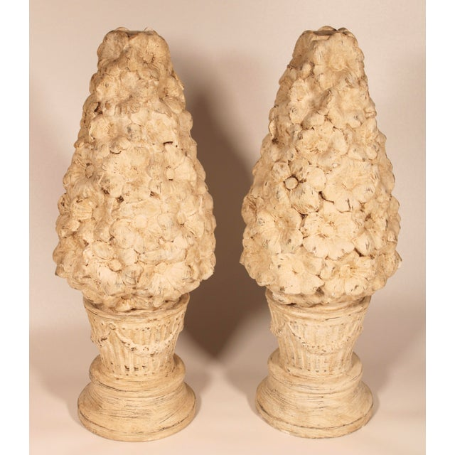 1970s Ceramic Floral Mantle Topiaries or Garden Statues - a Pair For Sale - Image 13 of 13