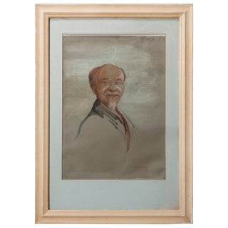 Antique Oil on Canvas Portrait Painting of a Wise Man by Hm Gordon, Circa 1930 For Sale