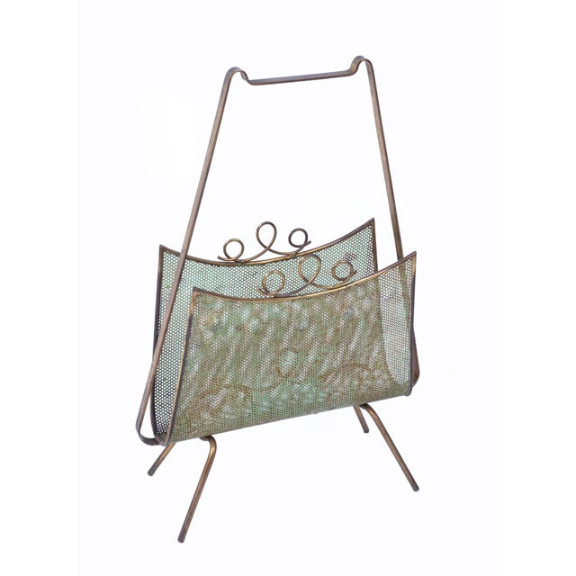 Brass Magazine Rack Attributed to Mathieu Matégot For Sale - Image 9 of 10