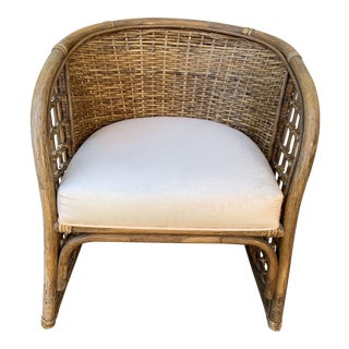 Boho Vintage Woven Rattan Bamboo Armchair For Sale