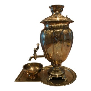 Antique Russian Brass Samovar, Tray and Bowl - 3 Piece Set For Sale
