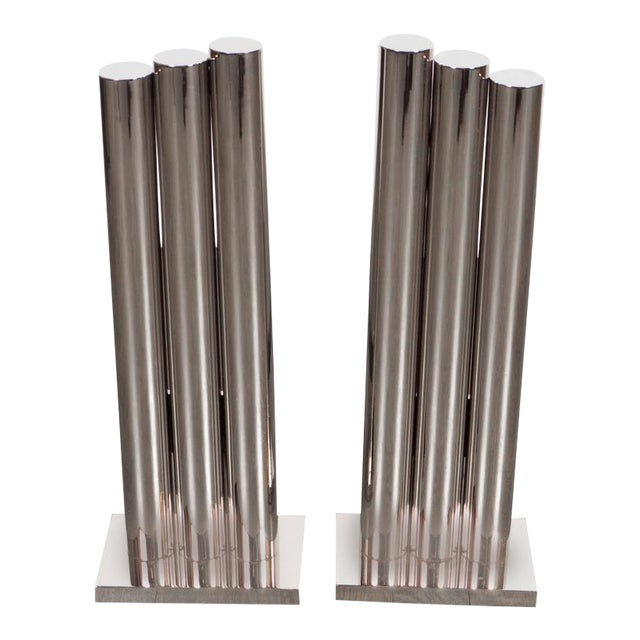 Custom Art Deco Style Triple Column Andirons in Polished Nickel For Sale