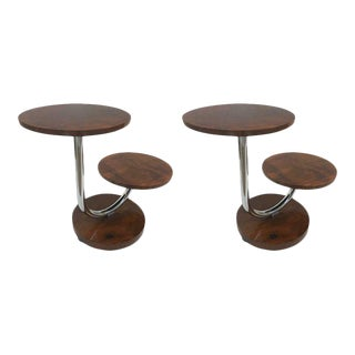 Pair of Donald Deskey Art Deco Walnut and Chrome Side Tables For Sale